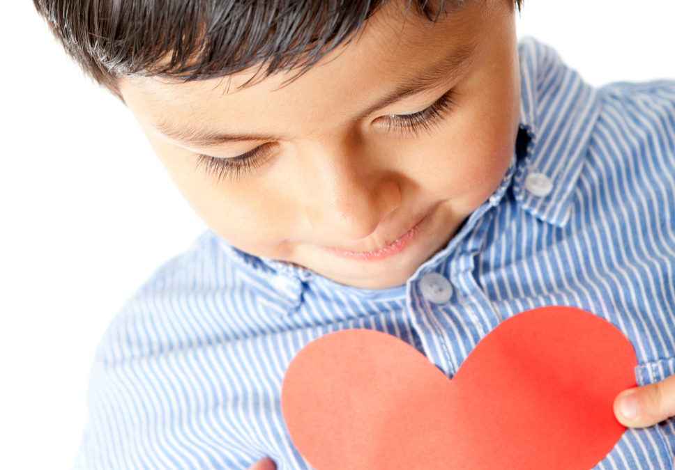 Boy Holding A Red Heart For Valentines Day Isolated 968X675